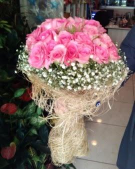 33 adet pembe gül nişan kız isteme buketi  İzmir Konak online çiçek gönderme sipariş