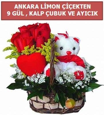 Kalp çubuk sepette 9 gül ve ayıcık  İzmir Konak uluslararası çiçek gönderme