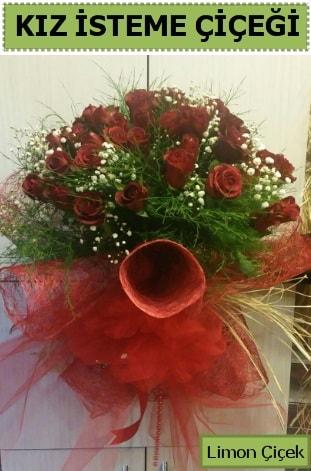 41 adet kırmızı gülden kız isteme buketi  İzmir Konak 14 şubat sevgililer günü çiçek