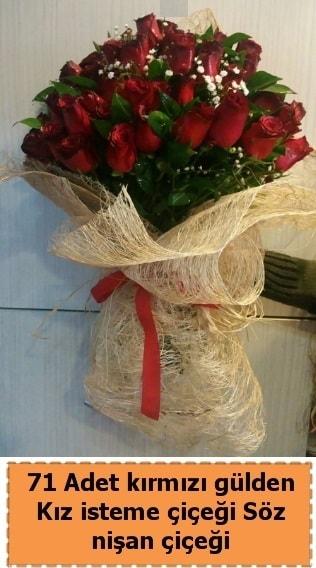71 adet kırmızı gül söz nişan çiçeği  İzmir Konak 14 şubat sevgililer günü çiçek