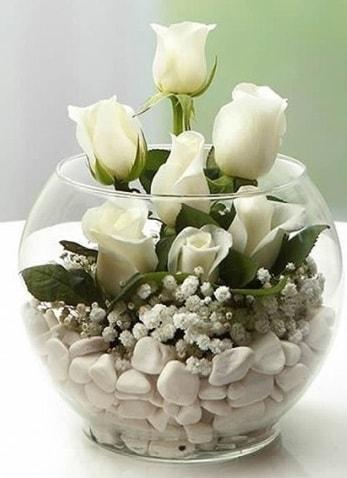 Beyaz Mutluluk 9 beyaz gül fanusta  İzmir Konak çiçek mağazası , çiçekçi adresleri