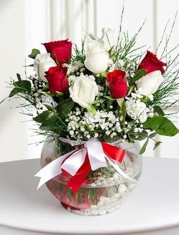 Aşk Küresi  5 beyaz 5 kırmızı gül fanusta  İzmir Konak kaliteli taze ve ucuz çiçekler
