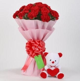 19 kırmızı karanfil buketi 15 cm ayıcık  İzmir Konak online çiçekçi , çiçek siparişi