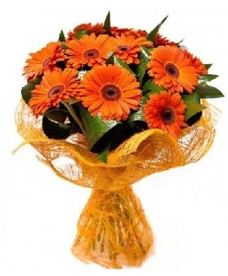 11 adet turuncu gerbera buketi  İzmir Konak güvenli kaliteli hızlı çiçek