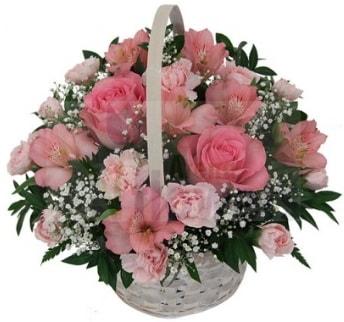 Karışık mevsim sepeti  İzmir Konak çiçek online çiçek siparişi