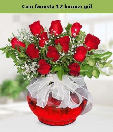 Cam içerisinde 12 adet kırmızı gül  İzmir Konak kaliteli taze ve ucuz çiçekler