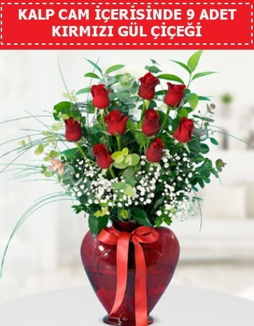 Kırmızı kalp camda 9 kırmızı gül  İzmir Konak 14 şubat sevgililer günü çiçek
