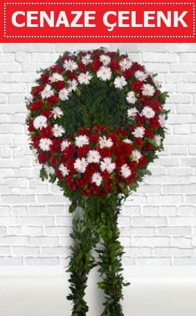 Kırmızı Beyaz Çelenk Cenaze çiçeği  İzmir Konak çiçek siparişi vermek