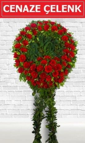 Kırmızı Çelenk Cenaze çiçeği  İzmir Konak çiçek siparişi vermek