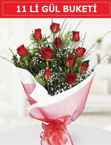 11 adet kırmızı gül buketi Aşk budur  İzmir Konak online çiçek gönderme sipariş