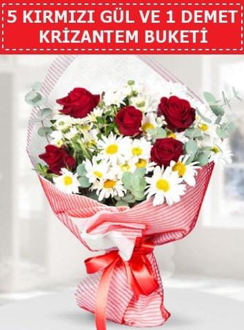 5 adet kırmızı gül ve krizantem buketi  İzmir Konak 14 şubat sevgililer günü çiçek