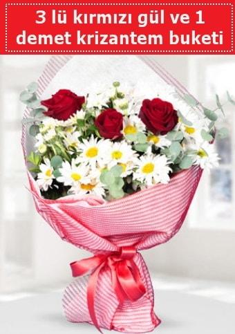 3 adet kırmızı gül ve krizantem buketi  İzmir Konak online çiçek gönderme sipariş