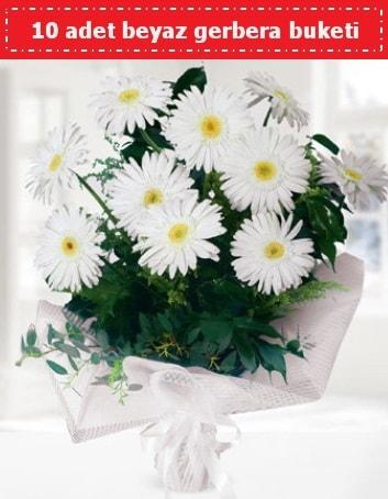 10 Adet beyaz gerbera buketi  İzmir Konak anneler günü çiçek yolla