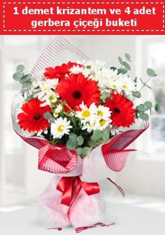 Krizantem ve Gerbera Buketi  İzmir Konak çiçek mağazası , çiçekçi adresleri