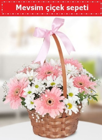 Mevsim kır çiçek sepeti  İzmir Konak anneler günü çiçek yolla