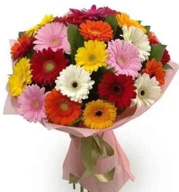 Karışık büyük boy gerbera çiçek buketi  İzmir Konak 14 şubat sevgililer günü çiçek