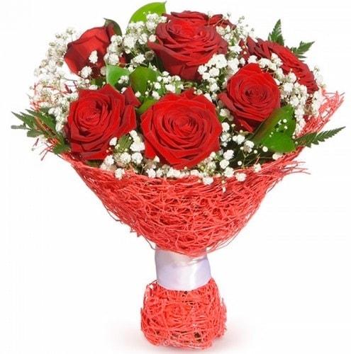 7 adet kırmızı gül buketi  İzmir Konak güvenli kaliteli hızlı çiçek