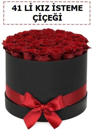 41 li kız isteme kutuda çiçek  İzmir Konak hediye sevgilime hediye çiçek