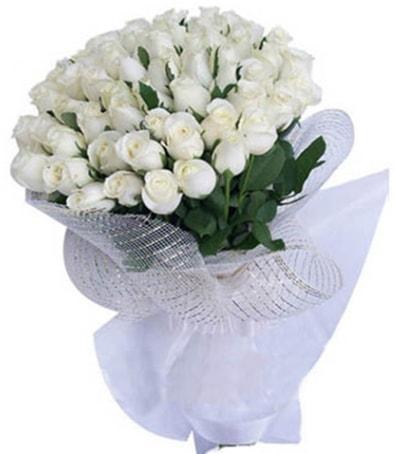 41 adet beyaz gülden kız isteme buketi  İzmir Konak çiçek mağazası , çiçekçi adresleri