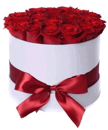 29 adet kırmızı gülden kutu çiçeği  İzmir Konak çiçek siparişi sitesi