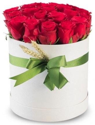 Özel kutuda 25 adet kırmızı gül çiçeği  İzmir Konak 14 şubat sevgililer günü çiçek