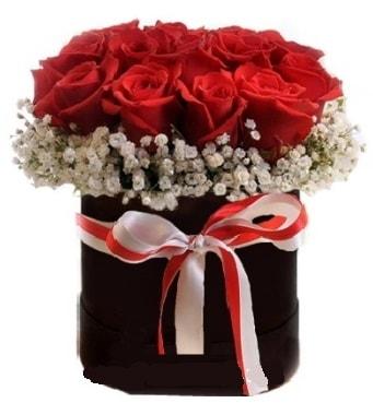 Siyah kutuda 23 adet kırmızı gül tanzimi  İzmir Konak online çiçek gönderme sipariş