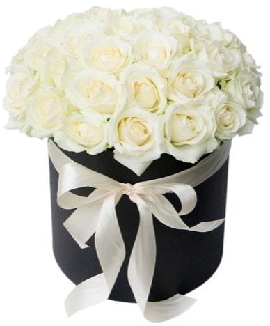 41 adet beyaz gül kutuda söz  İzmir Konak 14 şubat sevgililer günü çiçek  süper görüntü