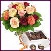İzmir Konak yurtiçi ve yurtdışı çiçek siparişi  Renkli Güller ve çikolata
